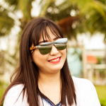 berkton silver mirror polarized lens wooden sunglass lifestyle photo for women