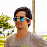 blaker blue mirror lens bamboo sunglasses lifestyle photo men