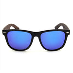 Wayfarer Wooden Sunglasses Blue Mirror Polarized Lens UV400