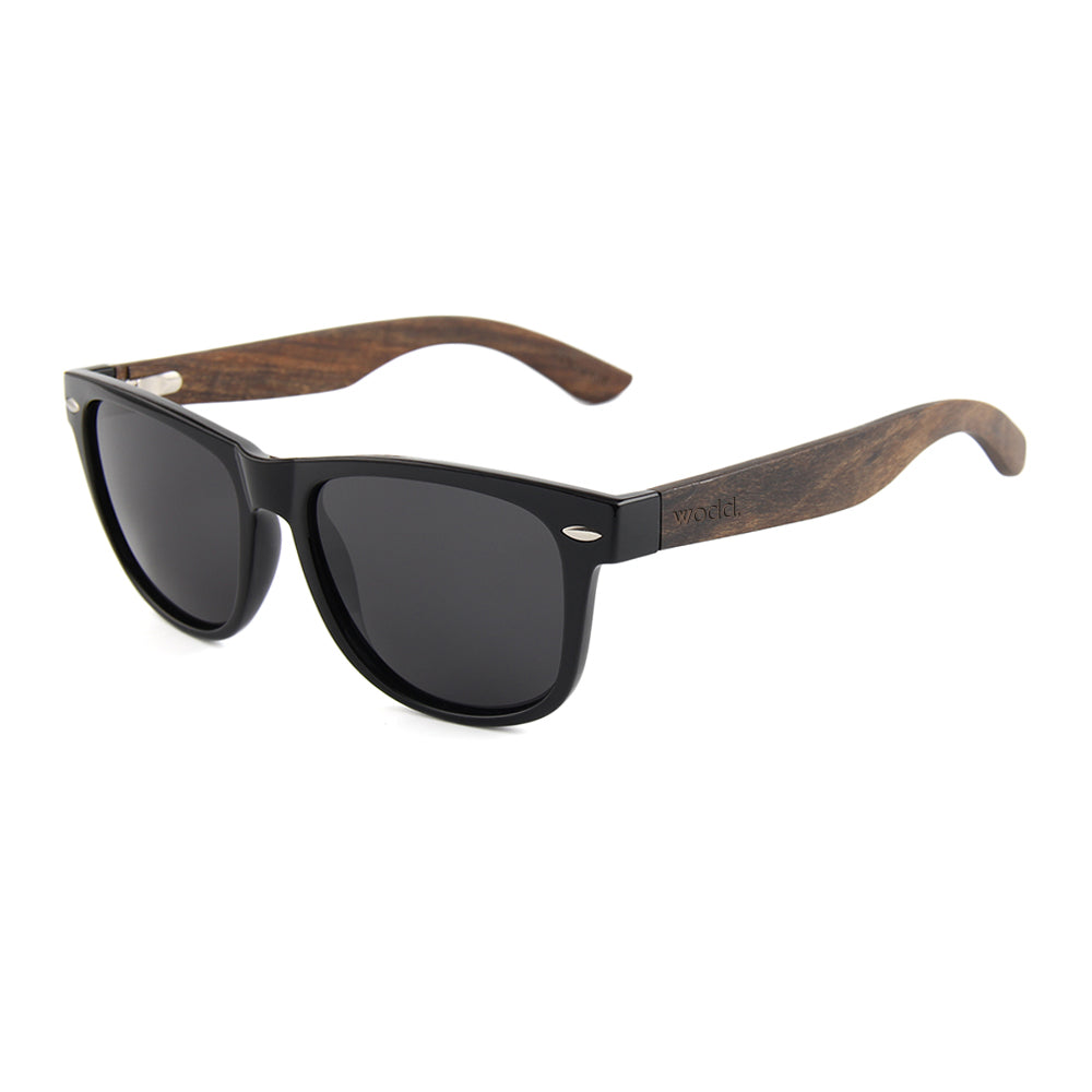Brimfield Wayfarer Wooden Sunglasses with Smoked Polarized Lens