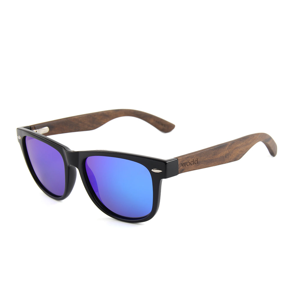 8994592049 Brimfield - 03 - Wayfarer Wooden Sunglasses Blue Mirror Polarized ...