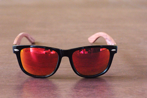 brimfield red mirror polarized lens wooden sunglasses