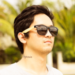 coniston smoked polarized lens bamboo sunglasses lifestyle photo for men