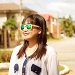 eastcliff green mirror polarized full bamboo sunglass lifestyle for women