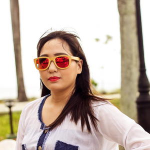 eastcliff red mirror polarized full bamboo sunglass lifestyle for women