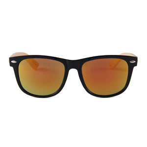 Falman Wayfarer Bamboo Sunglasses Red Mirror Lens UV400