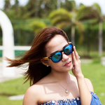falman blue mirror lens bamboo sunglasses lifestyle women