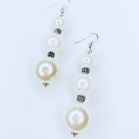 Jill- chic silver and white bead earrings.