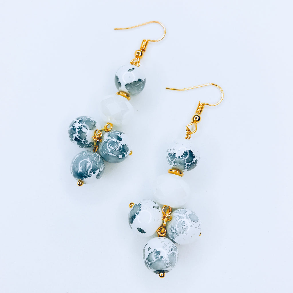 Jess- Long chic white beads with ink stamps earrings