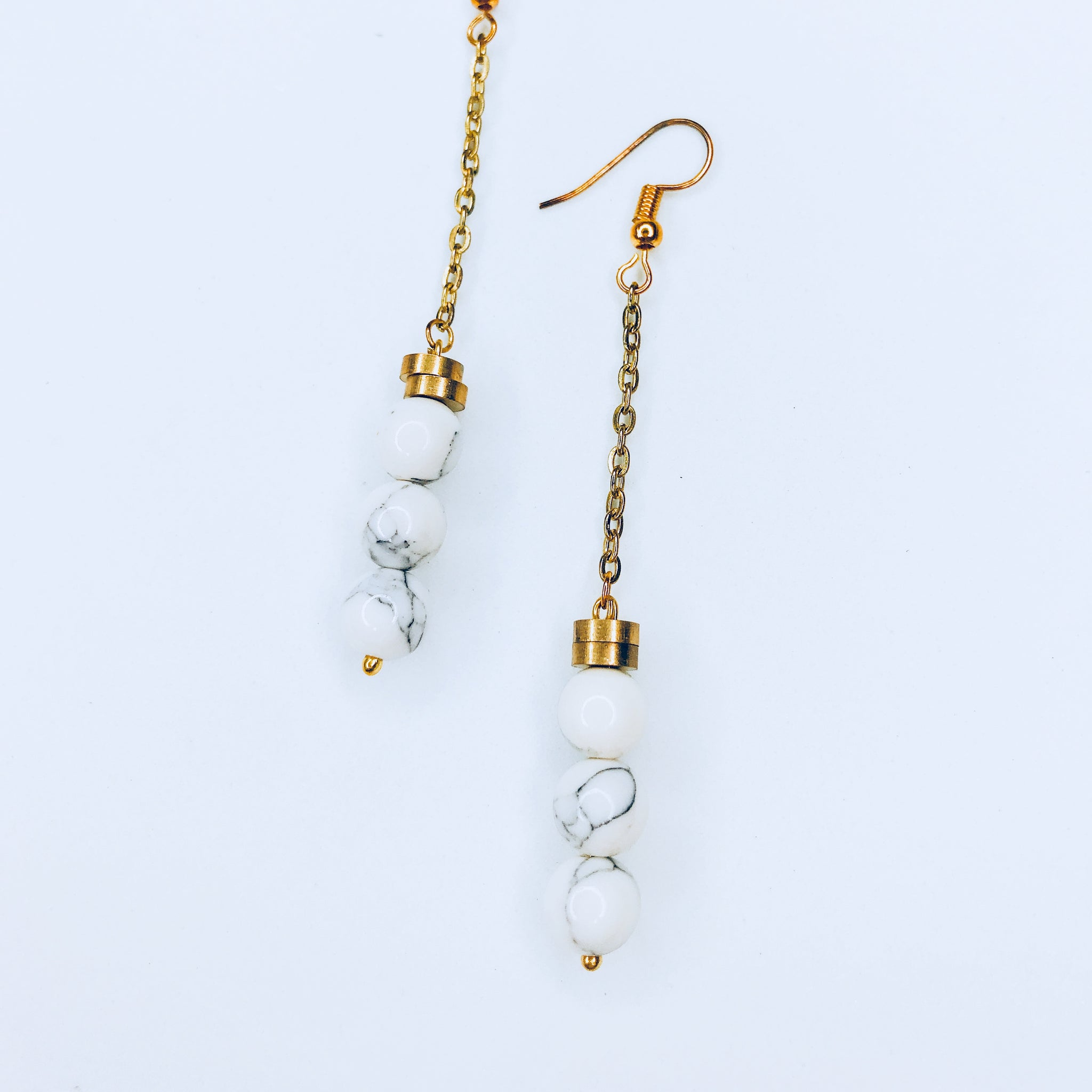 Josephine - chic marble bead and gold plated chain  earrings.