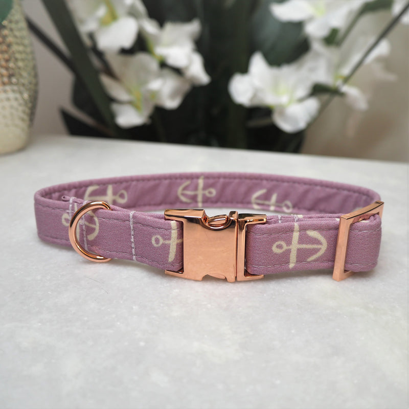 'Lilac Anchors' Dog Collar