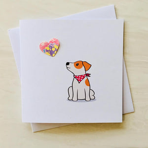 greeting card with image of cartoon jack russell dog with a paper pop up heart