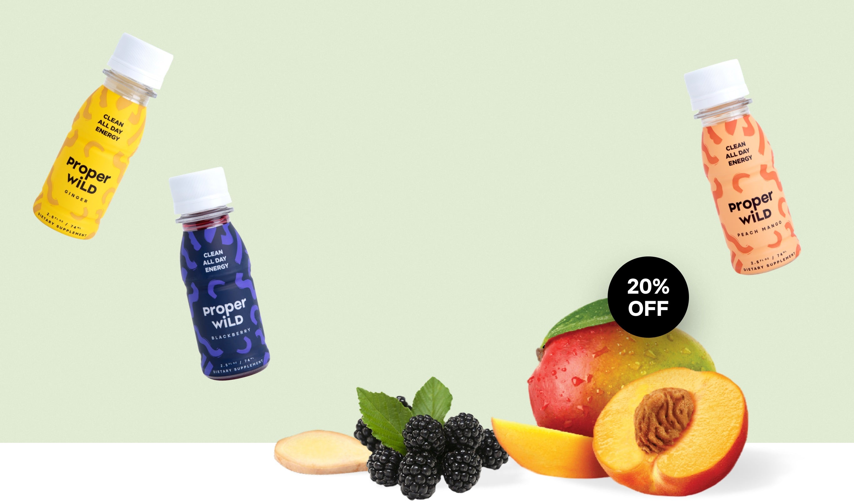 Proper Wild's clean energy shots with clean ingredients like peaches, mangoes, blackberries and ginger