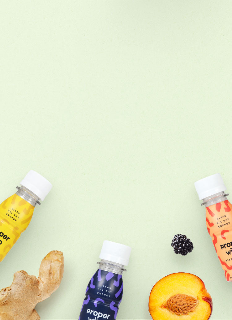 Proper Wild's clean energy shots with real ingredients like peaches, mangoes, blackberries and ginger
