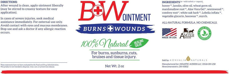 B&W Ointment - Amish Burn Salve Cream - Konvalia Naturals | Natural Skin Care Products