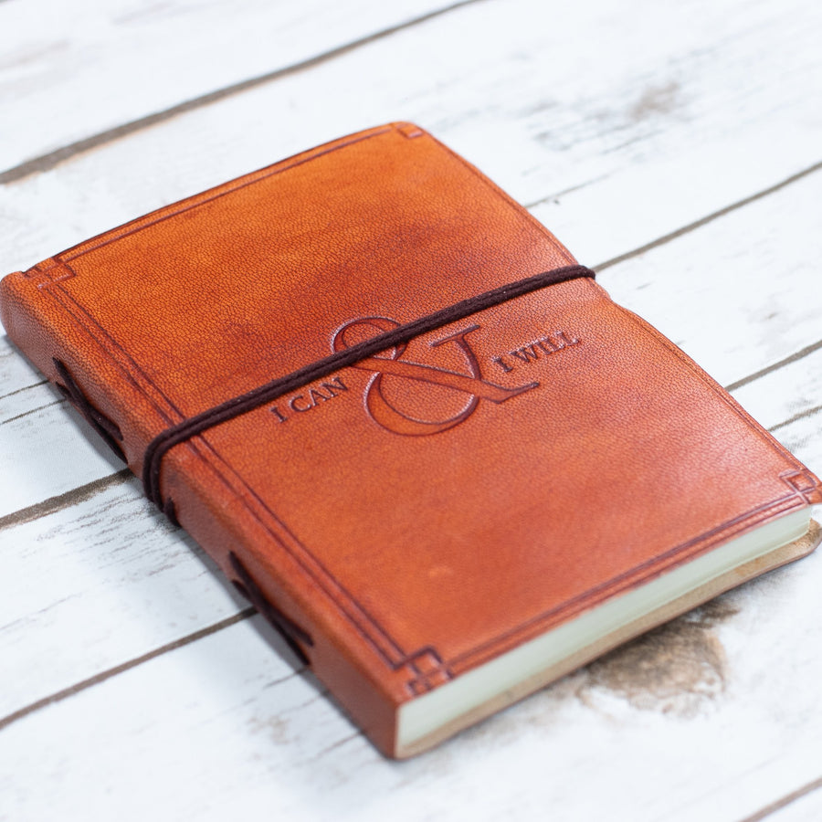 """I Can & I Will"" Handmade Leather Journal - drogos-cafe"