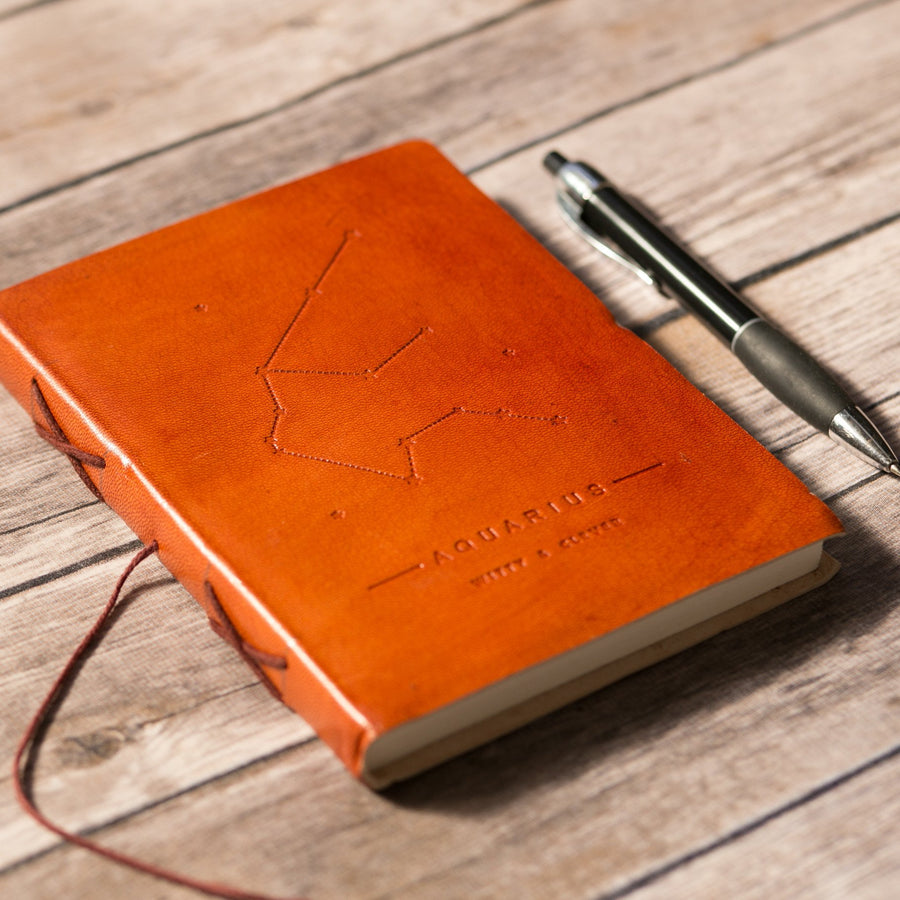 Aquarius Zodiac Handmade Leather Journal - drogos-cafe