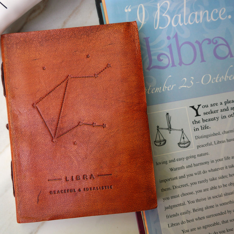 Libra Zodiac Handmade Leather Journal - drogos-cafe