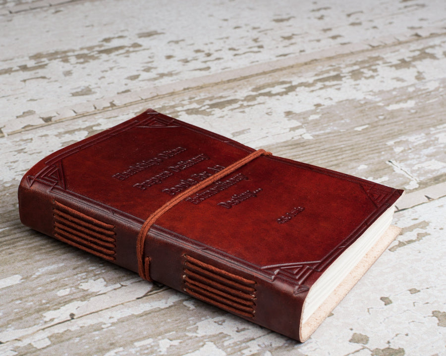 """Hardships And Extraordinary Journey"" Handmade Leather Journal - drogos-cafe"