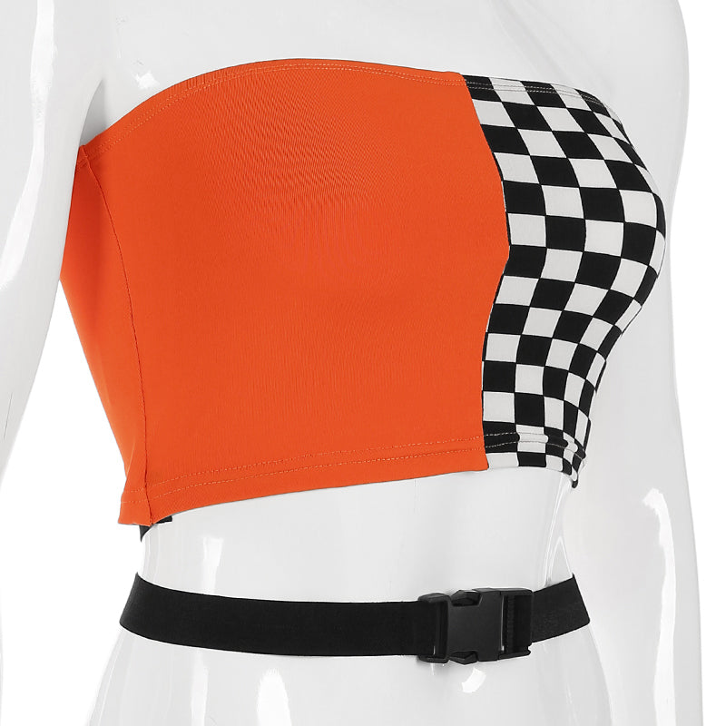 26491ab191d98c Checkerboard Tube Top Buckle Strapless Crop Top – Ba-Bang