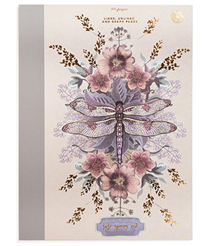 Papaya Clothbound Notebook - Dragonfly
