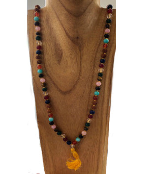 Multi-Gemstone Mala with Rudraksha Seeds