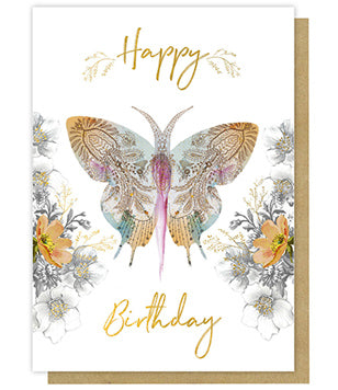 Greeting Card - Paisley Butterfly Happy Birthday