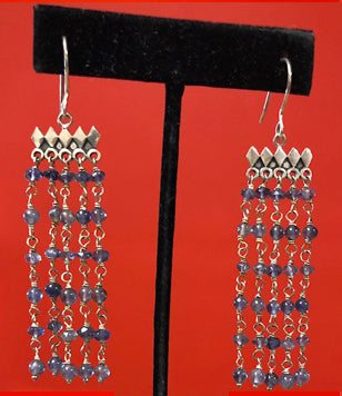 Lolite Beaded Silver Earrings