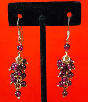 Grape Garnet Silver Earrings