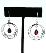 Silver Hoops with Garnet Earrings