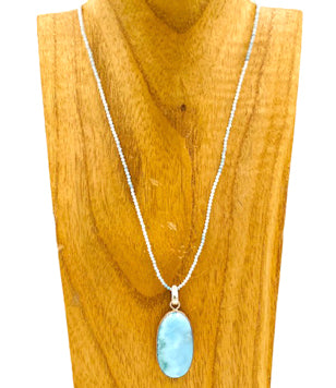Aquamarine Necklace with Larimar Sterling Silver Pendant