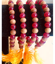 Ruby Gemstone & Sandalwood Bracelet