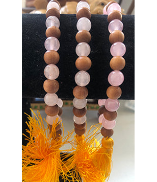 Rose Quartz and Sandalwood Bracelet