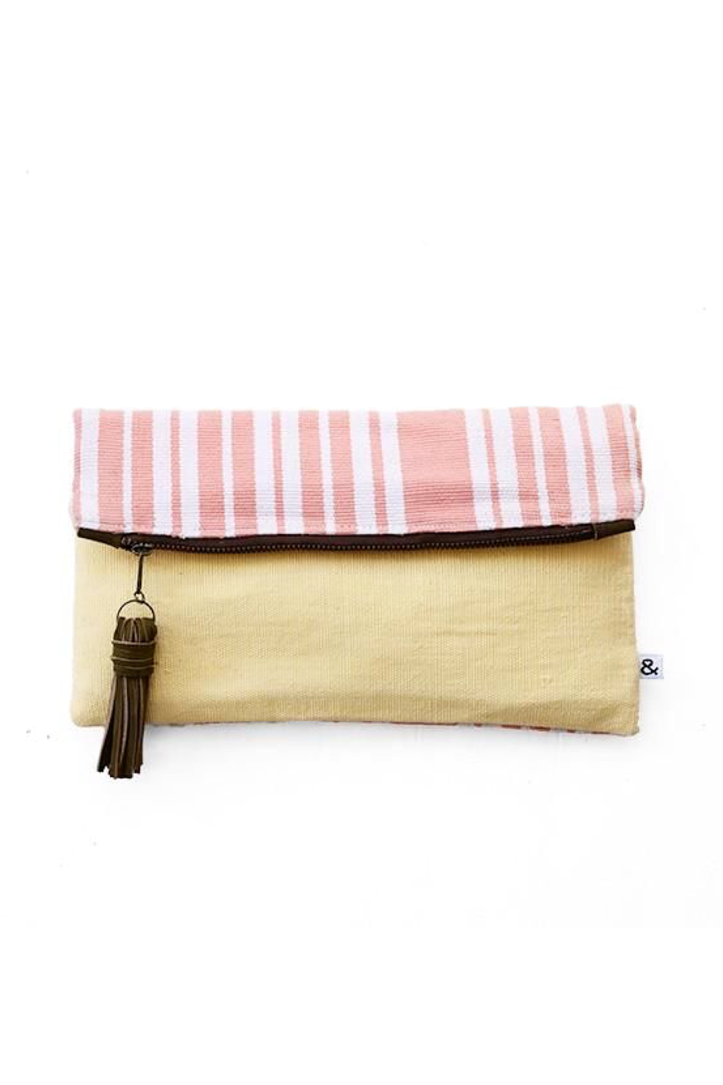 Blush Pink & Sunshine Yellow Fold Over Clutch - ROSE MADE SHOP