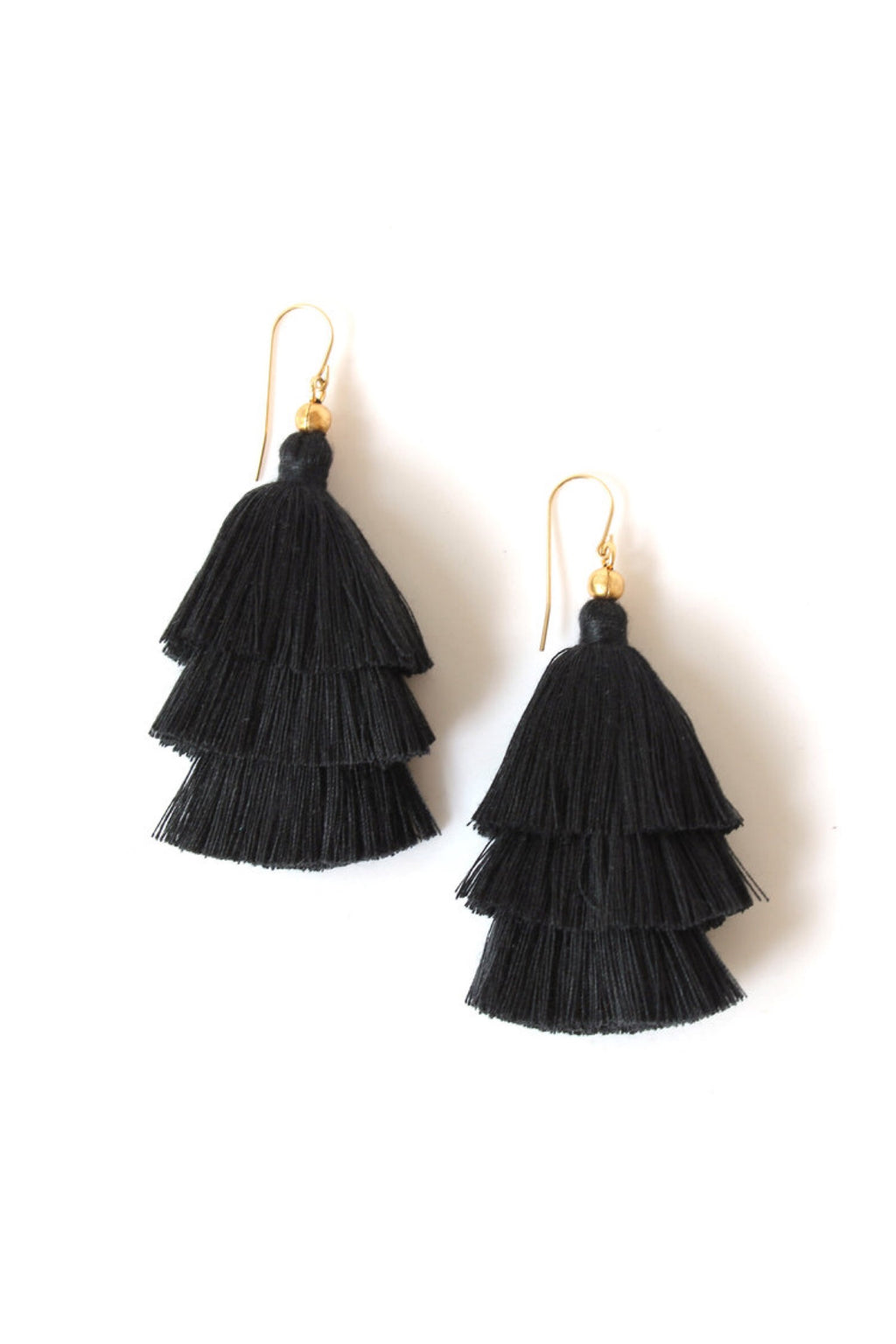 Black Mary Layered Tassel Earrings - ROSE MADE SHOP