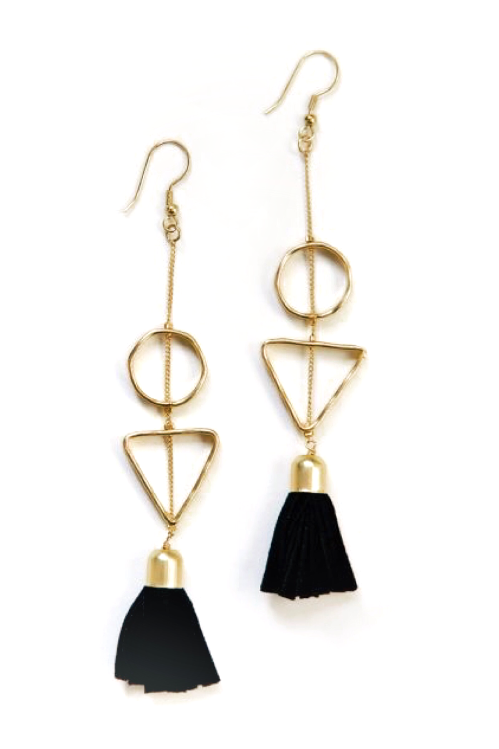 Black + Gold Suede Tassel Earrings - ROSE MADE SHOP