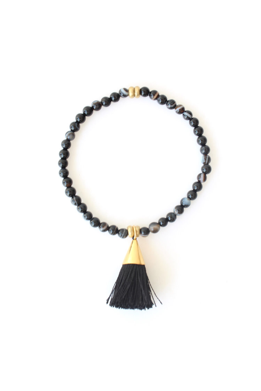 Black x Black Tassel Bracelet - ROSE MADE SHOP