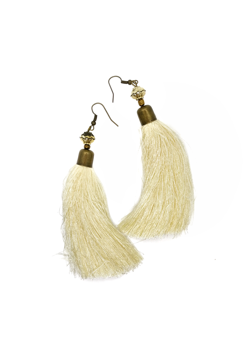 Cream Dramatic Tassel Earrings - ROSE MADE SHOP