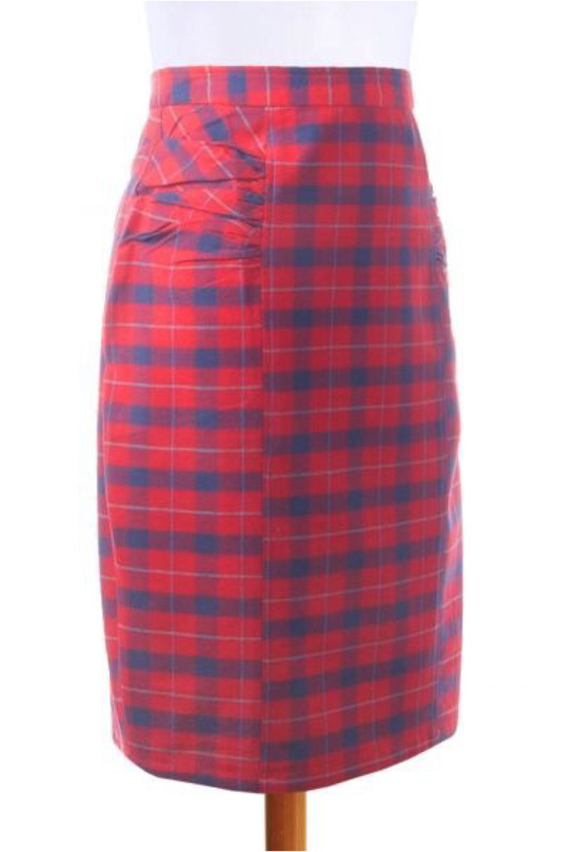 Red Panelled Pencil Skirt - ROSE MADE SHOP