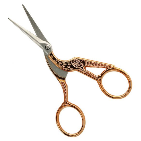 stork Embroidery Scissors in rose gold