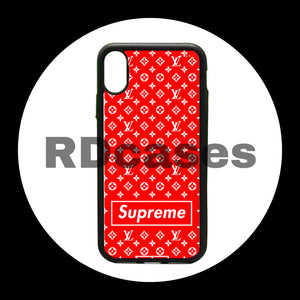 Red LV x Supreme iphone case.