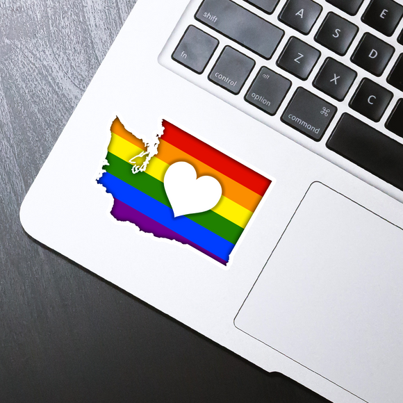 Washington hearted rainbow die cut sticker - 3