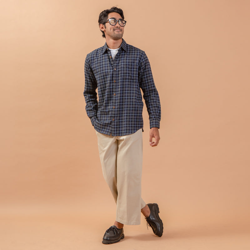 Bilbao Flannel Long Sleeve Shirt Navy Grey