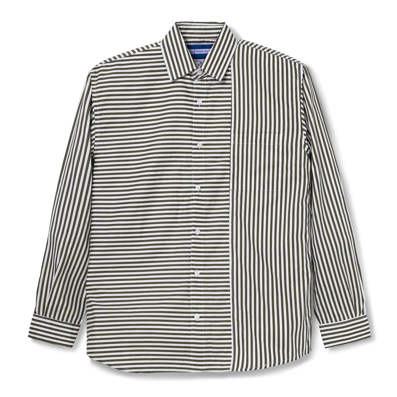 Le Moneo Stripes Duo Tone Olive Shirt