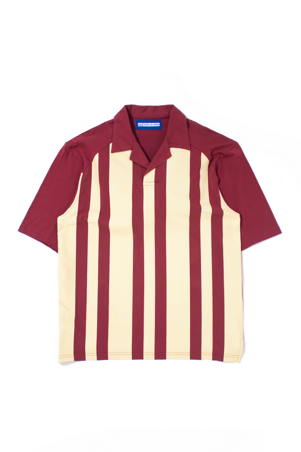 Sérigraphie à Rayures Bowling Polo Maroon