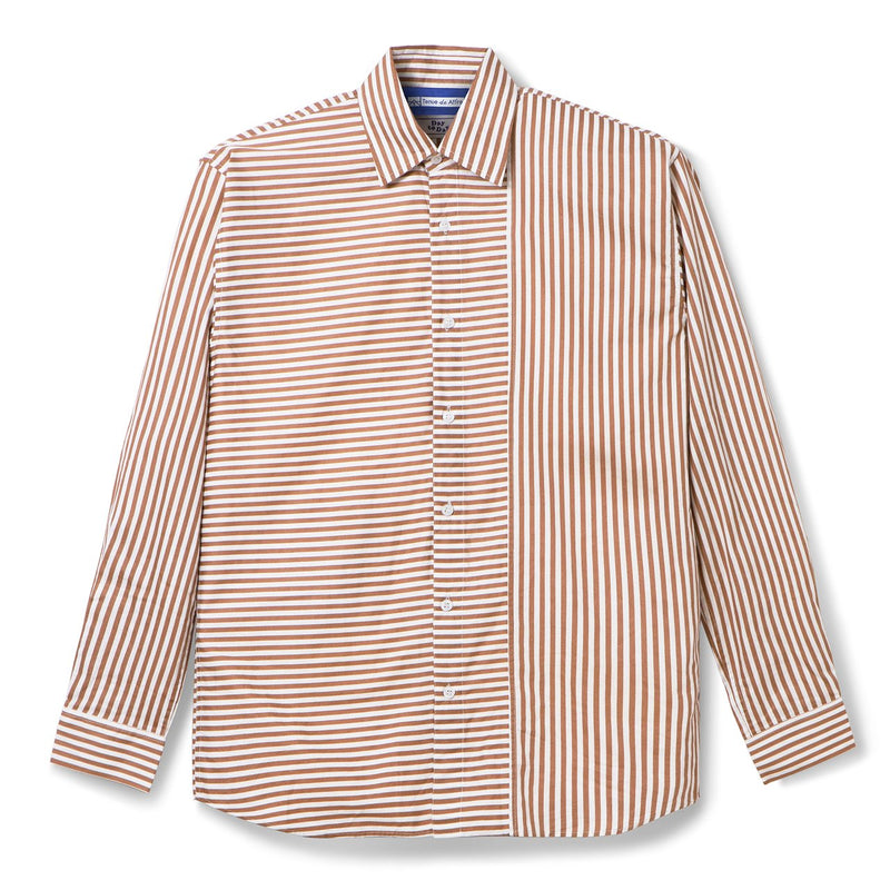 Le Moneo Stripes Duo Tone Brown Shirt