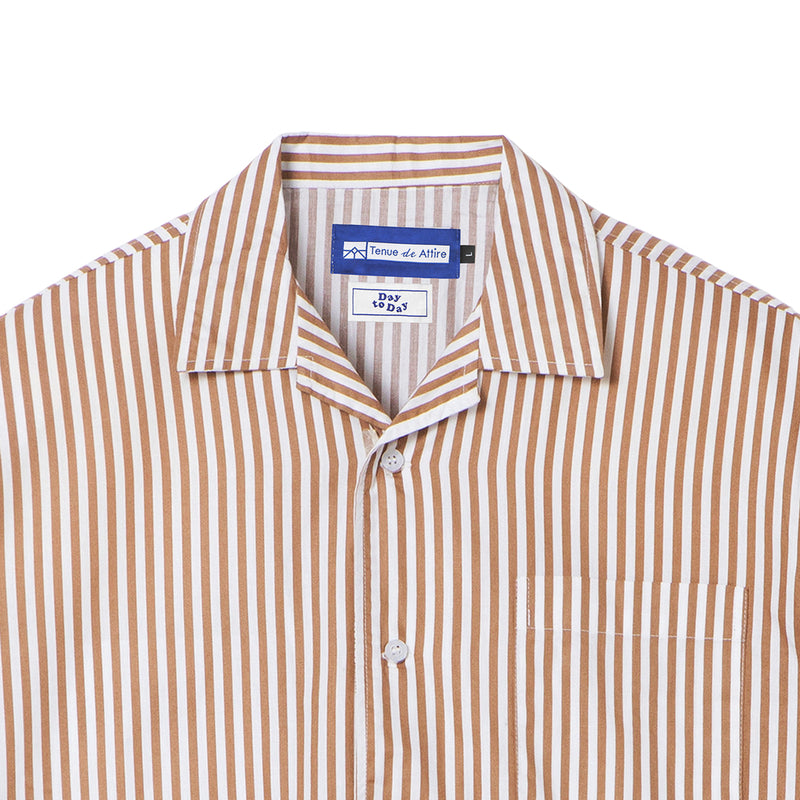 Peinture Stripes Short Sleeve Brown Shirt