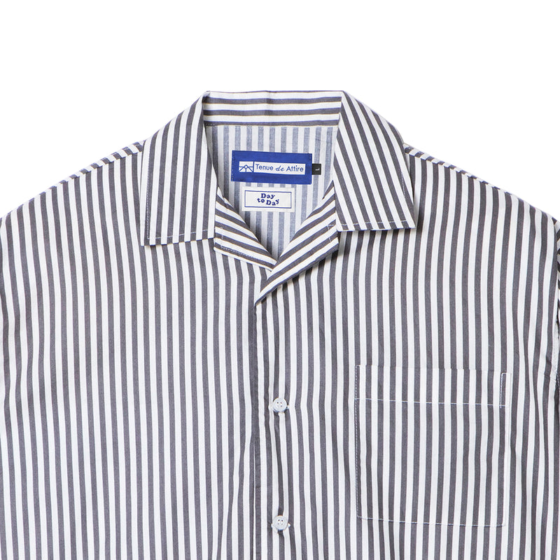 Peinture Stripes Short Sleeve Gray Shirt