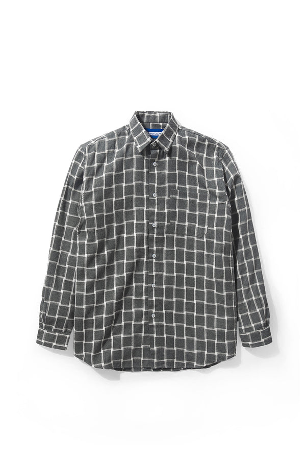 Merci Flannel White Plaid Grey Long Sleeve Shirt