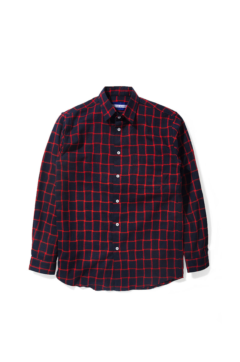 Merci Flannel Red Plaid Navy Long Sleeve Shirt - Tenue de Attire